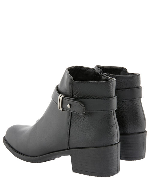 Buckle Ankle Boots, Black (BLACK), large