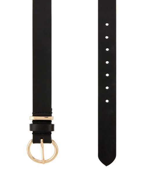 Round Buckle Leather Belt, Black (BLACK), large