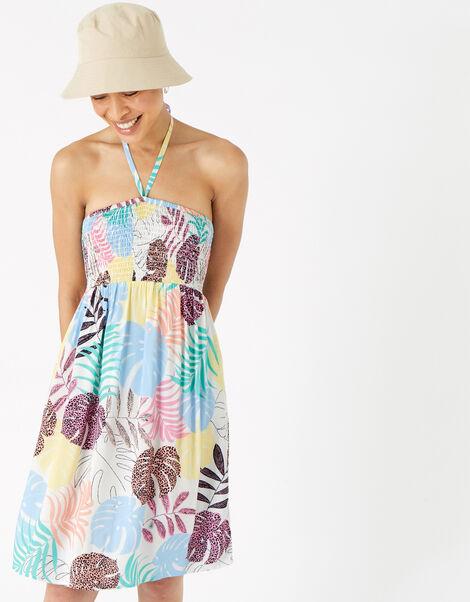 Palm Print Bandeau Dress Multi, Multi (BRIGHTS-MULTI), large