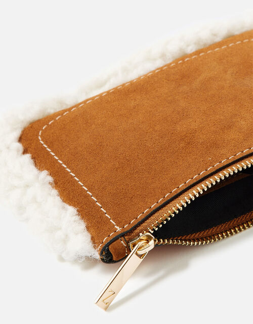 Shearling Leather Pouch, Tan (TAN), large