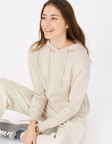 Knit Longline Lounge Hoody Cream, Cream (TAUPE), large