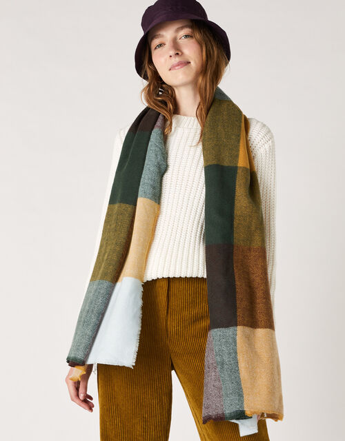 Large Check Blanket Scarf, , large