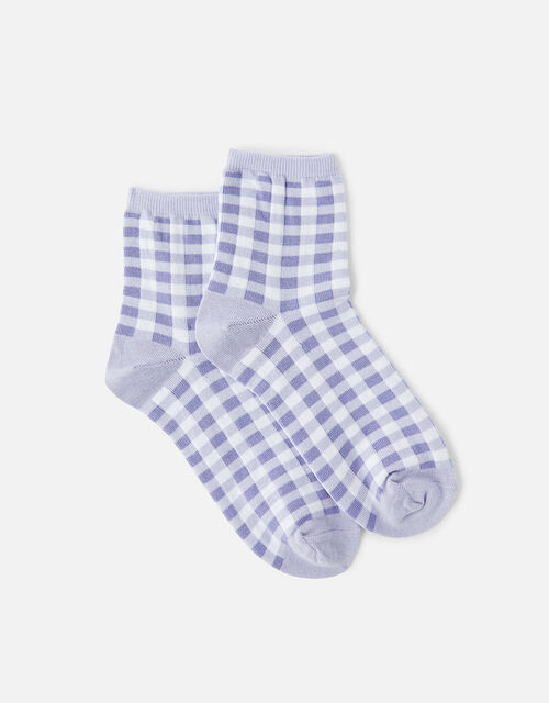Gingham Print Ankle Socks, , large