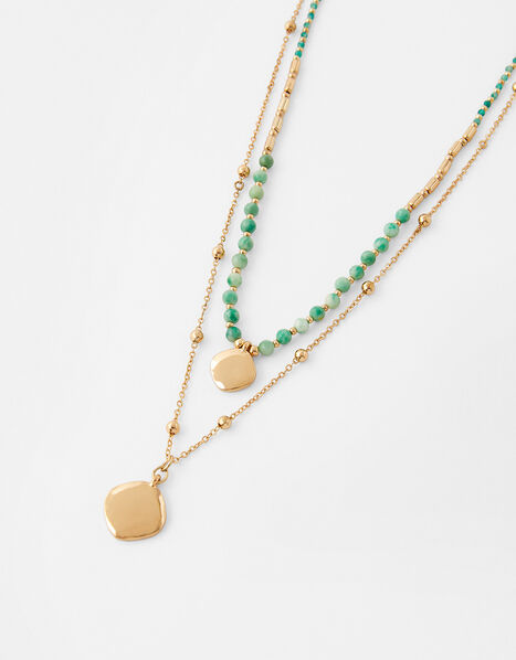 Turquoise Bead and Disc Layered Necklace, , large