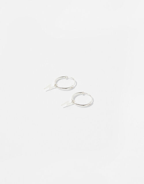Sterling Silver Lightning Charm Huggie Hoops, , large