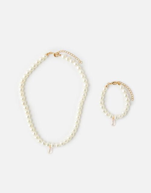 Pearl Drop Jewellery Set , , large