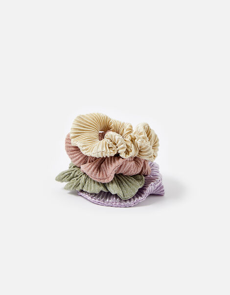 Metallic Pleated Scrunchie Set , , large