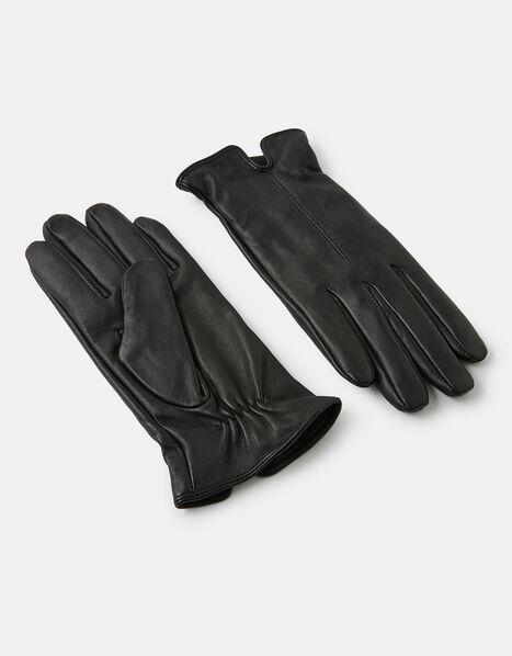 Luxe Leather Gloves Black, Black (BLACK), large