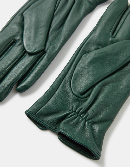 Luxe Leather Gloves, Green (GREEN), large