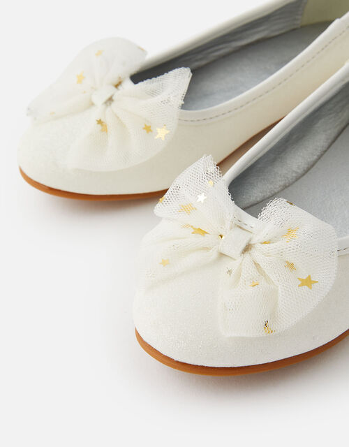 Star Bow Mini Heel Shoes, Natural (IVORY), large