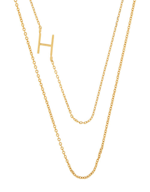 Gold-Plated Double Chain Initial Necklace - H, , large
