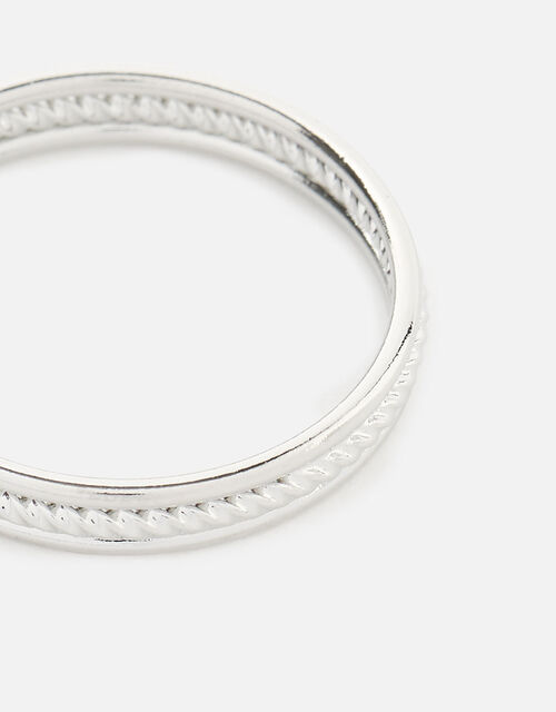 Platinum-Plated Rope Band Ring, Silver (SILVER), large