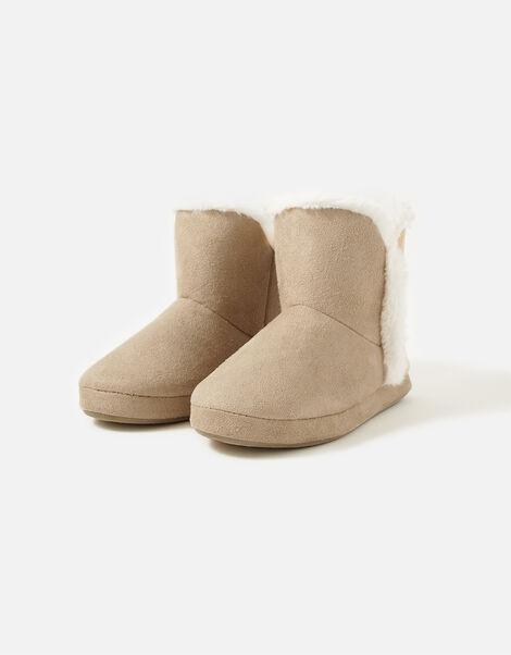 Suedette Slipper Boots Tan, Tan (TAN), large