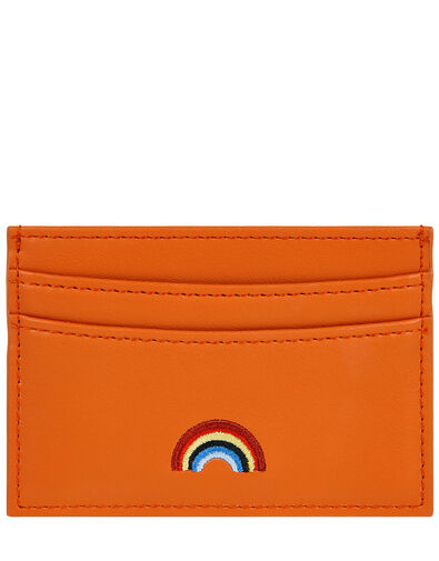 Embroidered Rainbow Cardholder Orange, Orange (CORAL), large