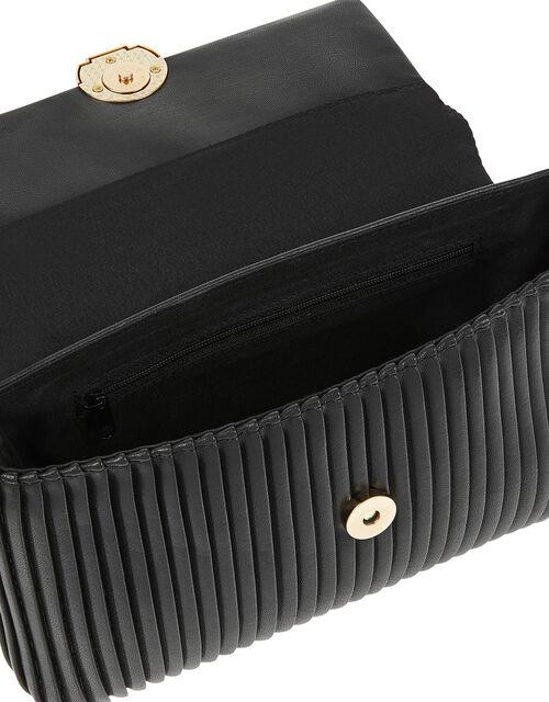 Pleated Cross-Body Bag, Black (BLACK), large