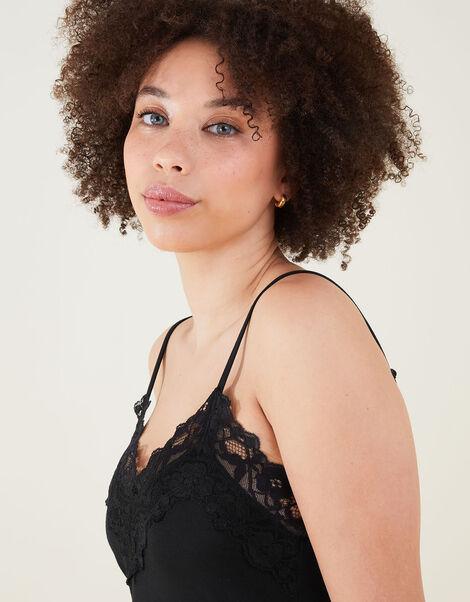 Lace Trim Pyjama Set Black, Black (BLACK), large