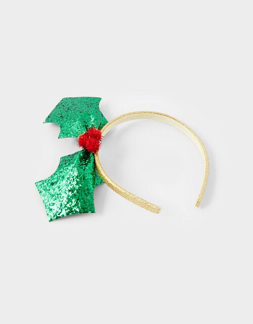 Glitter Holly Festive Headband, , large