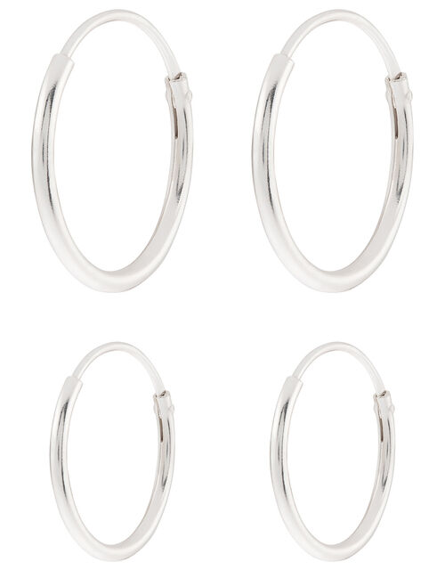 Sterling Silver Plain Mini Hoop Set, , large