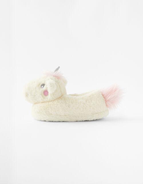 Girls Sparkle Unicorn Fluffy Slippers, Multi (BRIGHTS-MULTI), large