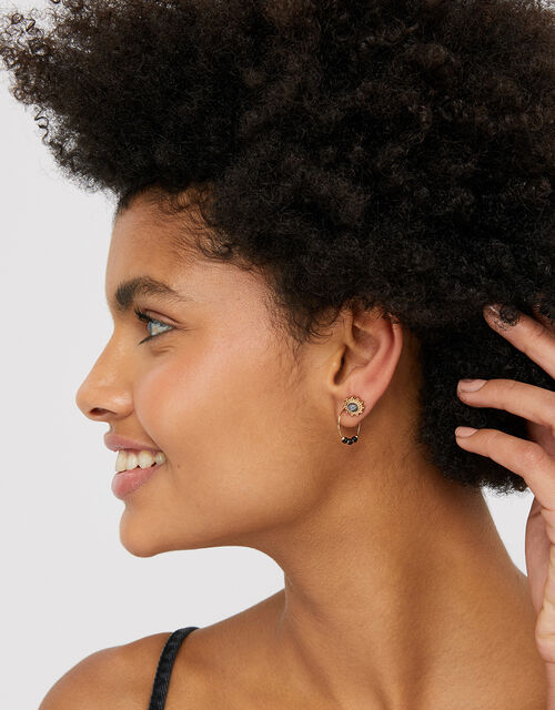 Multi-Shape Gem Stud and Hoop Earring Set, , large