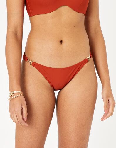Ring Detail Strappy Bikini Briefs Orange, Orange (RUST), large