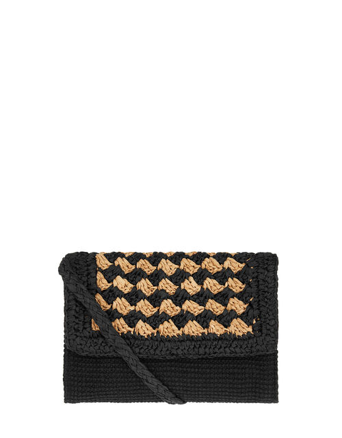 Raffia Flap Cross-Body Bag, , large