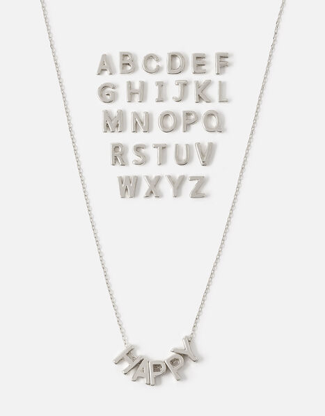 Make-Your-Own Letter Necklace Silver, Silver (SILVER), large