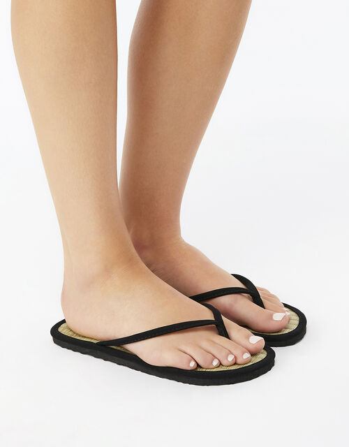 Plain Seagrass Flip Flops, Black (BLACK), large