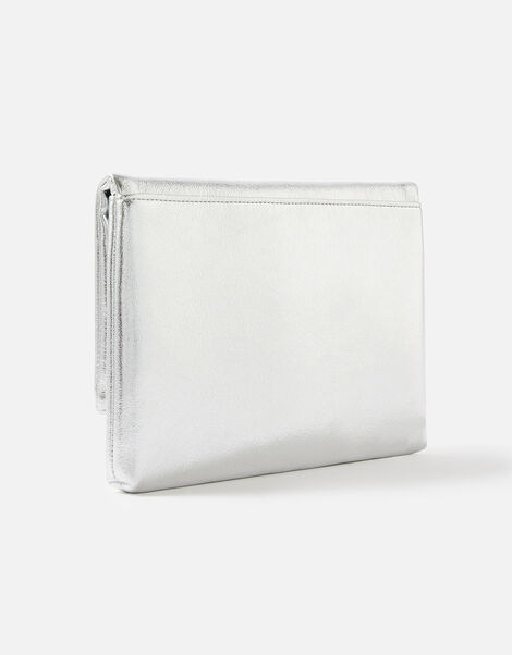 Foldover Clutch Bag Silver, Silver (SILVER), large