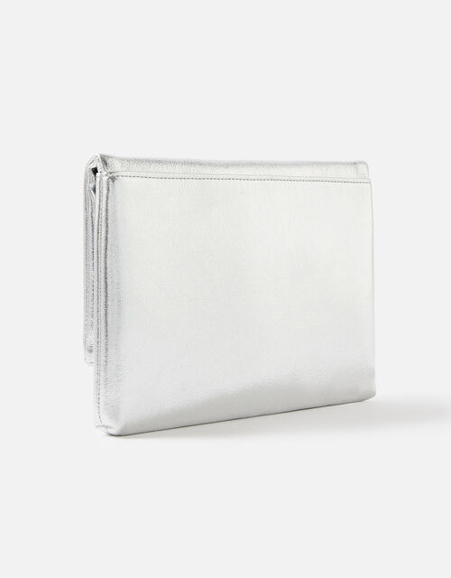 Foldover Clutch Bag, Silver (SILVER), large