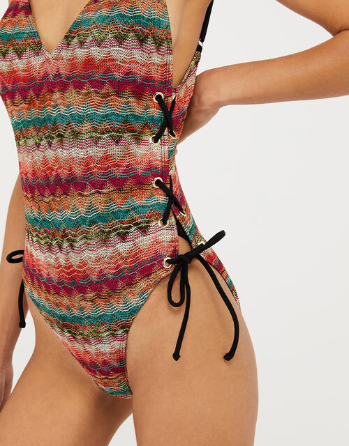 Zig-Zag Macramé Swimsuit, Multi (BRIGHTS-MULTI), large
