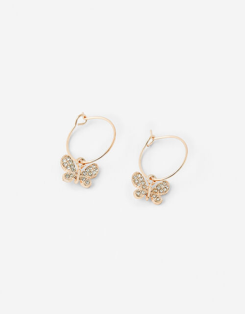 Sparkle Butterfly Hoop Earrings, , large