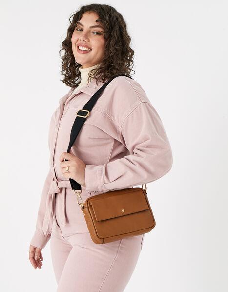 Leather Cross-Body Camera Bag  Tan, Tan (TAN), large