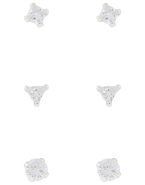 Sterling Silver Crystal Shape Stud Set, , large