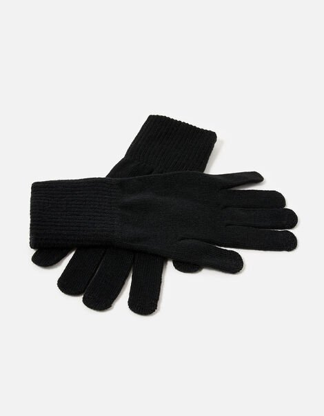 Long Cuff Touchscreen Gloves Black, Black (BLACK), large