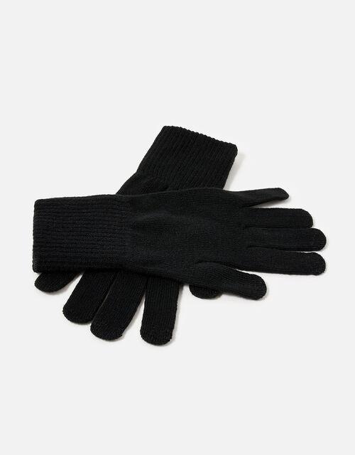 Long Cuff Touchscreen Gloves, Black (BLACK), large