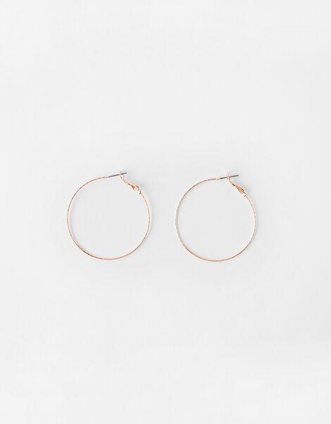 Fine Facet Hoop Earrings Gold, Gold (ROSE GOLD), large