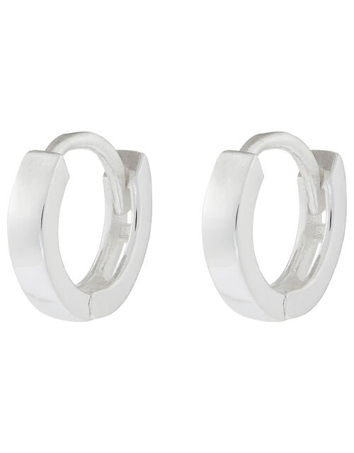 Sterling Silver Huggie Hoop Earrings, , large
