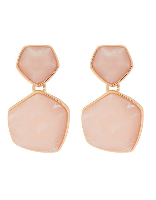 Organic Stone Mini Drop Earrings, Pink (PINK), large