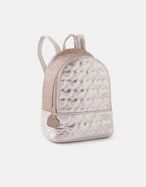 Mini Heart Quilted Sparkle Backpack, , large