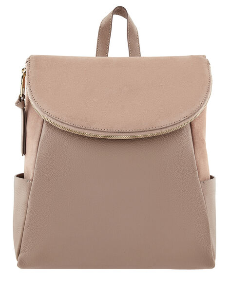 Isabel Leather Zip Flap Backpack, , large