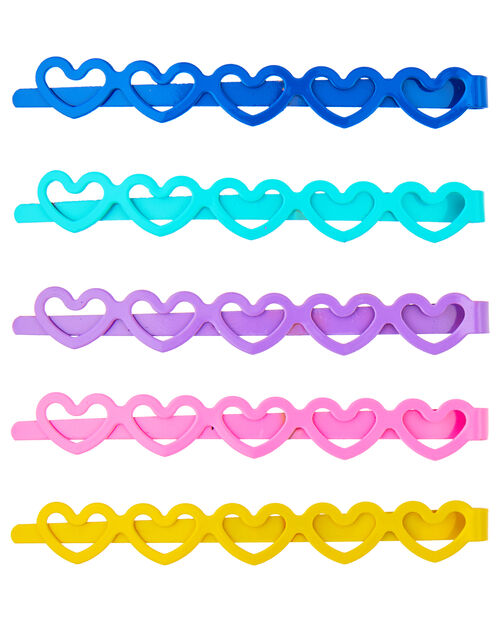 5 Coloured Heart Hair Slides, , large