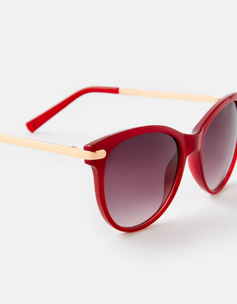Rubee Flat-Top Sunglasses Red, Red (BURGUNDY), large