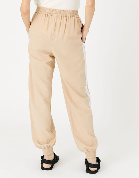 Drawstring Joggers in Linen Blend Cream, Cream (TAUPE), large