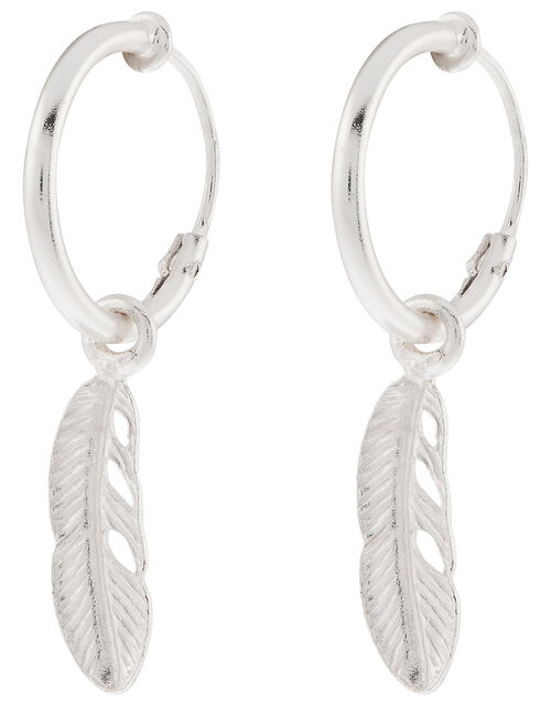 Sterling Silver Feather Huggie Hoop Earrings, , large