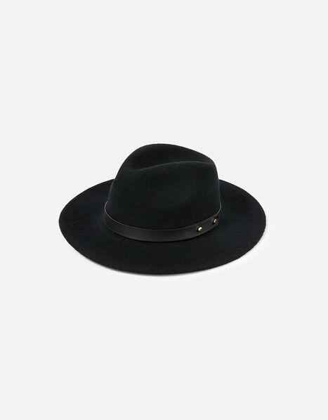 Mila Fedora Hat in Pure Wool Black, Black (BLACK), large