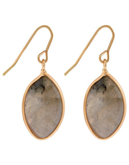 Oval Stone Short Drop Earrings, , large
