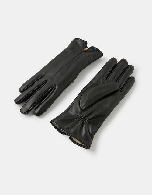 Faux Fur-Lined Leather Gloves, Black (BLACK), large