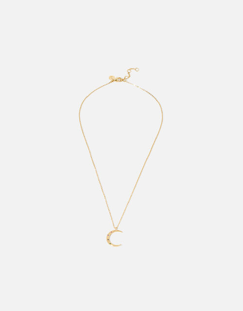 Gold-Plated Rainbow Moon Pendant Necklace, , large