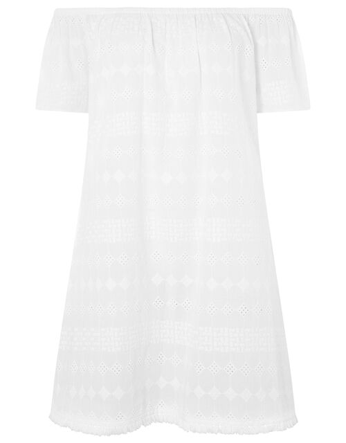 Schiffli Bardot Dress in Pure Cotton, White (WHITE), large
